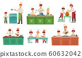 Cooks childrens. Kids baking or cooking food, chief children classes and cook with child vector illustration set 60632042