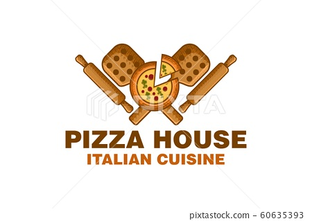 pizza house with wooden pizza peel and rolling pin 60635393