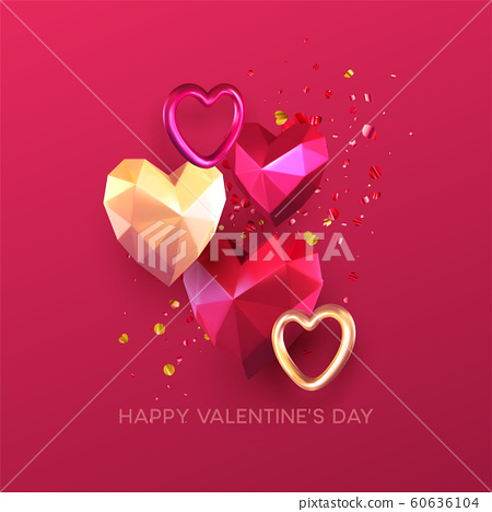 Valentines Day festive background with realistic metallic gold and red ruby low poly heart. Lettering Happy Valenetine day. Vector illustration 60636104