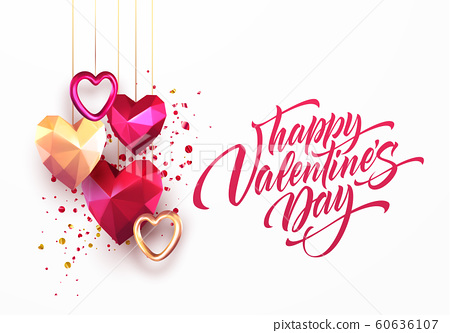 Valentines Day festive background with realistic metallic gold and red ruby low poly heart. Lettering Happy Valenetine day. Vector illustration 60636107