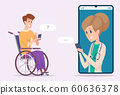 Disabled man with doctor. Online chat medical consulting web message vector cartoon characters 60636378