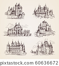 Castles medieval. Old tower buildings vintage architecture ancient gothic castles vector hand drawn illustrations 60636672