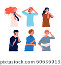 Flu symptoms people. Characters of illness fever ache in the body sore throat pressing head dizziness chills flu prevention vector flat 60636913