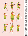 Young scouts. Kids boys and girls adventure camping specific uniforms vector flat characters 60636948