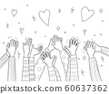 Applause hands. Crowd people handed applause fun vector sketch doodles collection 60637362