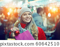 Woman posing on Christmas market 60642510