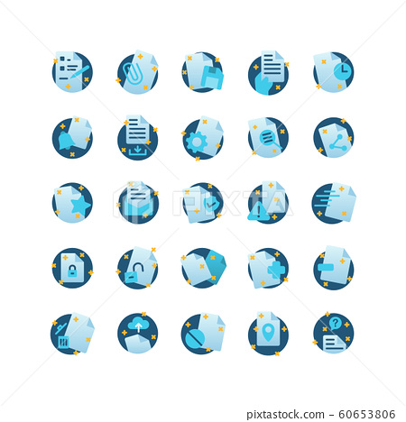 Document flat icon set. Vector and Illustration. 60653806