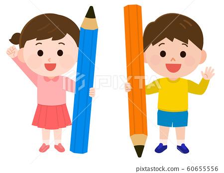 兒童用鉛筆,男人和女人的插圖 60655556