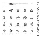 Sport outline vector icons. Crossfit, Handcycle, Bicycle, Bowling, Cross-Country Skiing, Swim Pool and others. Editable stroke. 60659841