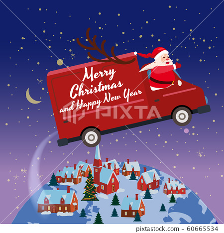 Merry Chrismas Santa Claus Van flies through the night sky above the Earth winter town delivering gifts. Flat cartoon style vector illustration greeting card poster banner 60665534