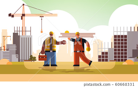 carpenter holding planks discussing with african american engineer workmen in uniform standing together building concept construction site background flat full length horizontal 60668331