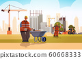 builder pushing wheelbarrow with sand busy workman in protective uniform and helmet industrial worker building concept construction site background flat full length horizontal 60668333