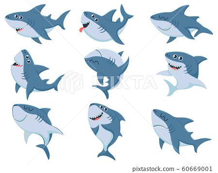 Cartoon sharks. Comic shark animals, scary jaws and ocean swimming angry sharks vector illustration set 60669001