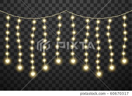 Valentine's lights isolated on transparent background, vector illustration 60670317