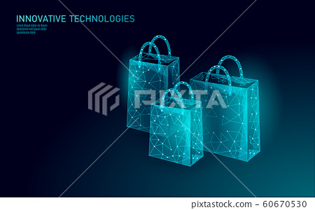 Shopping bag low poly design 3D. Online shop trade market technology. Buy now template. Mobile sale vector illustration 60670530