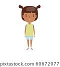 Smiling little child. Cheerful elementary school student, kindergarten pupil cartoon character. 60672077