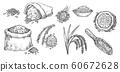 Sketch wheat grain, rye and barley flour in sack 60672628