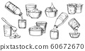 Dairy milk products, cheese, yogurt sketch icons 60672670