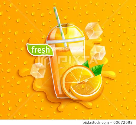 Fresh orange juice with ice and fruits. 60672698