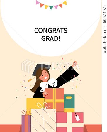 졸업가운을 입은 여학생이 선물상자 앞에서 손을 들고 기뻐하고 있다. 60674076