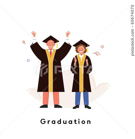 졸업가운을 입은 할머니 할아버지가 졸업식에서 졸업의 성취를 기뻐하고 있다. 60674078