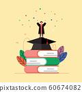畢業禮服的一個人用他的在書和學士帽的手歡呼。 60674082