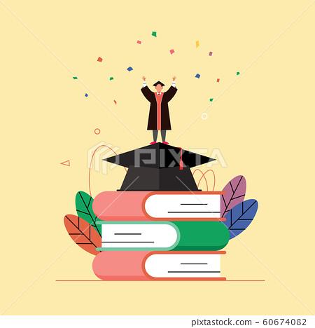 책과 학사모 위에서 졸업가운을 입은 남자가 두 손을 들고 환호하고 있다.  60674082