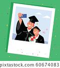 拍立得照片的兩個男孩在畢業典禮上用手機拍照 60674083