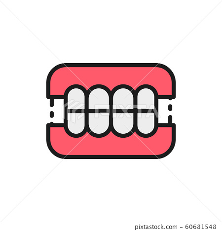 Dentures, dental prosthesis, tooth orthopedics flat color line icon. 60681548
