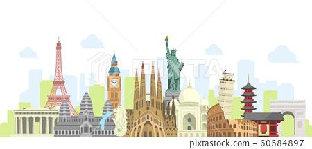 世界著名的建築物(遺址,建築物,世界遺產)彩色並排橫幅/海外旅行,世界形象 60684897