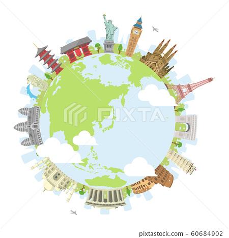 世界著名的建築物(遺址,建築物,世界遺產)彩色圓形橫幅/海外旅行(地球) 60684902