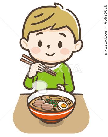 Boy eating ramen 60685029