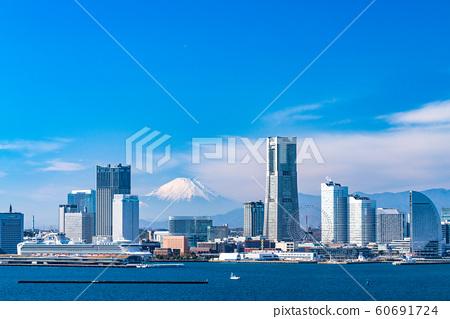 """""""神奈川縣""""橫濱港未來和富士山風景 60691724"""