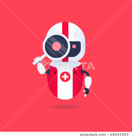 Medical friendly android robot looking through the magnifying glass. Search conceptual. 60693963