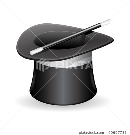 Mystic Magic Hat With Wand. Vector Illustration 60697751