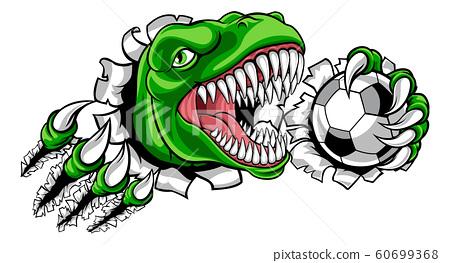 Dinosaur Soccer Football Player Sports Mascot 60699368