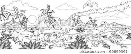 Dinosaur Cartoon Prehistoric Landscape Scene 60699391