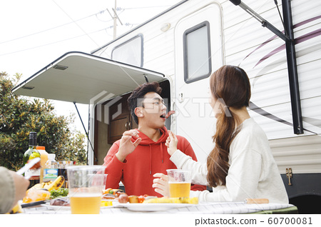 Happy young couple, camping or trip in Jeju, Korea 144 60700081