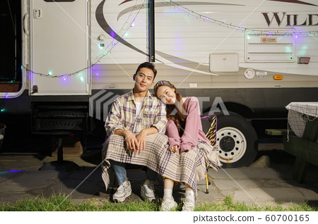 Happy young couple, camping or trip in Jeju, Korea 056 60700165