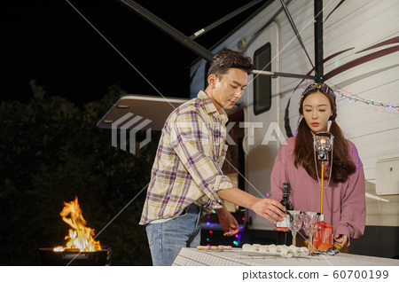 Happy young couple, camping or trip in Jeju, Korea 019 60700199