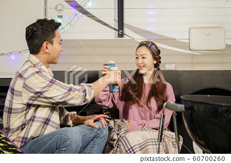 Happy young couple, camping or trip in Jeju, Korea 032 60700260