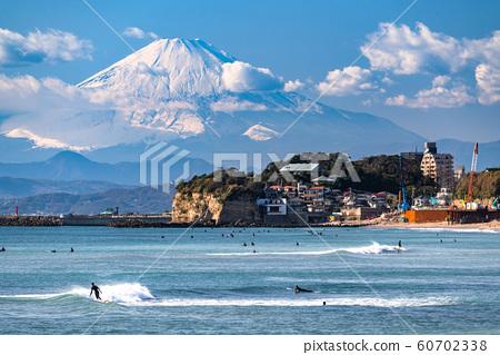 相模灣的《神奈川縣》富士山和湘南海岸風光 60702338