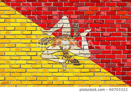 Flag of Sicily on a brick wall