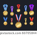 Medals and ribbons set. Different colors. Vector Illustration 60705844