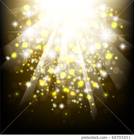 Yellow summer sun light burst. Typographical summer background with bokeh lights. 60705851