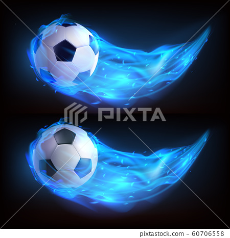 Realistic flying soccer ball in blue fire 60706558