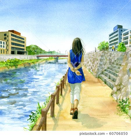 婦女在河床上行走 60706850