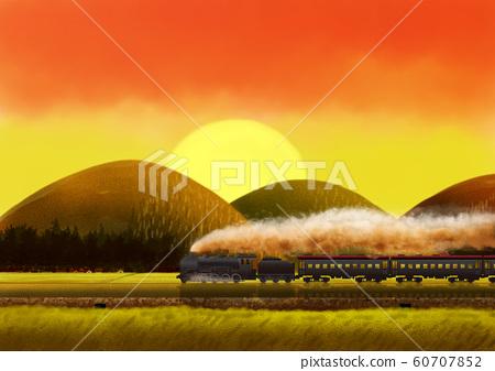 蒸汽機車和日落 60707852
