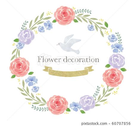 水彩花卉框架粉紅色或紫色 60707856