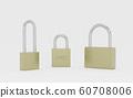 Set of different golden metal locks on white background 3d illustration render 60708006